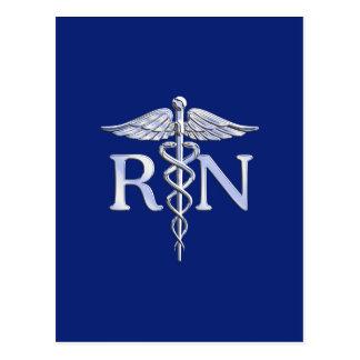 Registered Nurse RN Caduceus on Navy Blue Decor Postcard