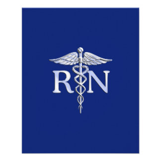Registered Nurse RN Caduceus on Navy Blue Flyer