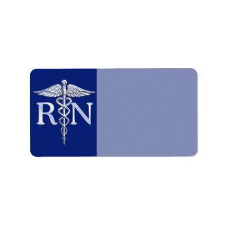 Registered Nurse RN Caduceus on Navy Blue Label