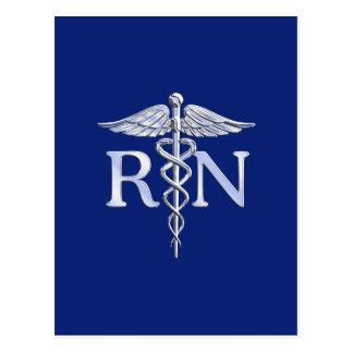 Registered Nurse RN Caduceus on Navy Blue Postcard