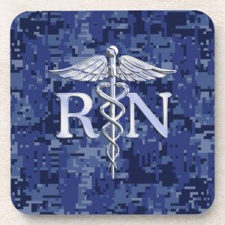 Registered Nurse RN Caduceus on Navy Camo Drink Coasters