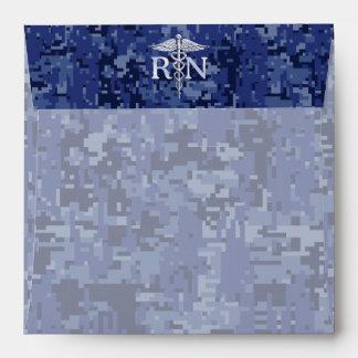 Registered Nurse RN Caduceus on Navy Camo Envelopes