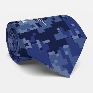 Registered Nurse RN Caduceus on Navy Camo Neck Tie
