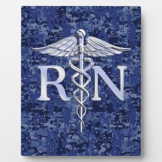 Registered Nurse RN Caduceus on Navy Camo Plaque