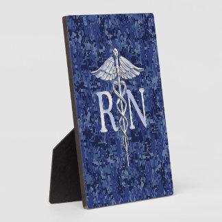 Registered Nurse RN Caduceus on Navy Camo Display Plaques