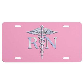 Registered Nurse RN Caduceus on Pastel Pink License Plate
