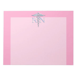Registered Nurse RN Caduceus on Pastel Pink Notepad