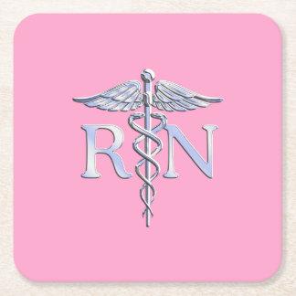 Registered Nurse RN Caduceus on Pastel Pink Square Paper Coaster