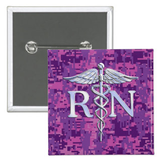 Registered Nurse RN Caduceus on Pink Camo 2 Inch Square Button