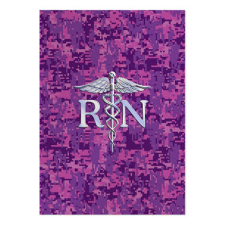 Registered Nurse RN Caduceus on Pink Camo Large Business Card