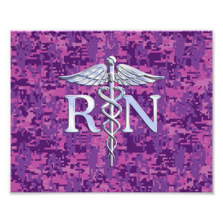 Registered Nurse RN Caduceus on Pink Camo Art Photo