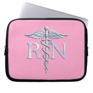 Registered Nurse RN Caduceus on Pink Decor Computer Sleeve