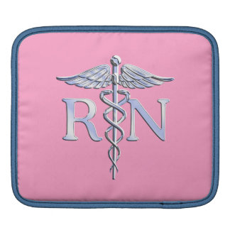 Registered Nurse RN Caduceus on Pink Decor iPad Sleeve