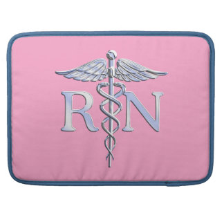 Registered Nurse RN Caduceus on Pink Decor Sleeve For MacBooks