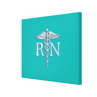 Registered Nurse RN Caduceus on Turquoise Canvas Print