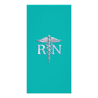 Registered Nurse RN Caduceus on Turquoise Card