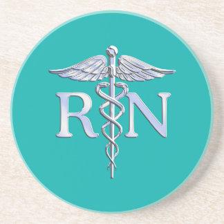 Registered Nurse RN Caduceus on Turquoise Coaster