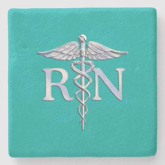 Registered Nurse RN Caduceus on Turquoise Decor Stone Coaster