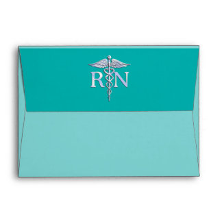 Registered Nurse RN Caduceus on Turquoise Envelopes