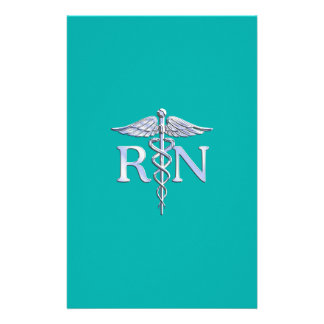 "Registered Nurse RN Caduceus on Turquoise 5.5"" X 8.5"" Flyer"