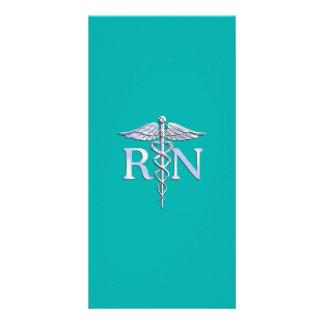 Registered Nurse RN Caduceus on Turquoise Photo Card