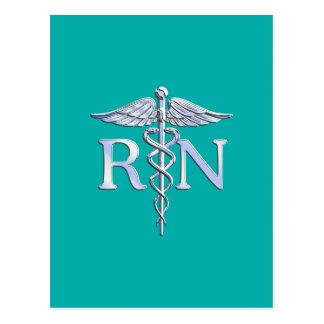Registered Nurse RN Caduceus on Turquoise Postcard