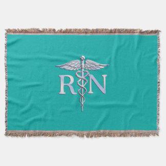 Registered Nurse RN Caduceus on Turquoise Throw Blanket