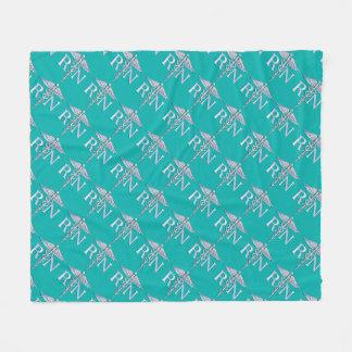 Registered Nurse RN Caduceus on Vibrant Turquoise Fleece Blanket