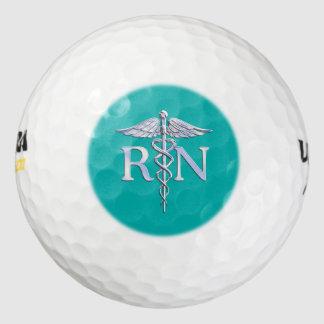 Registered Nurse RN Caduceus on Vibrant Turquoise Golf Balls