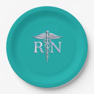 Registered Nurse RN Caduceus on Vibrant Turquoise Paper Plate