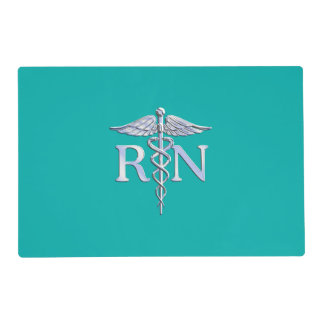 Registered Nurse RN Caduceus on Vibrant Turquoise Placemat