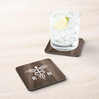 Registered nurse RN caduceus on wood background Drink Coasters