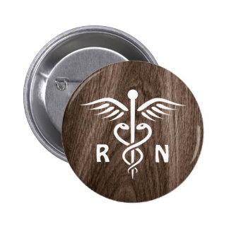 Registered nurse RN caduceus on wood background Pinback Button