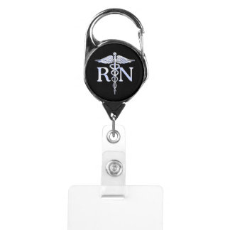 Registered Nurse RN Caduceus Snakes Badge Holder