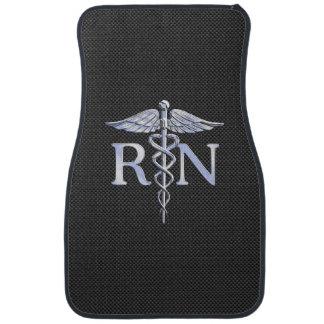 Registered Nurse RN Caduceus Snakes Black Carbon Car Floor Mat