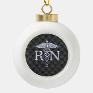 Registered Nurse RN Caduceus Snakes Black Carbon Ceramic Ball Christmas Ornament