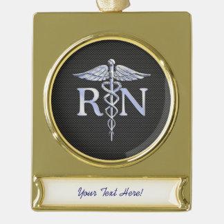 Registered Nurse RN Caduceus Snakes Carbon Gold Plated Banner Ornament