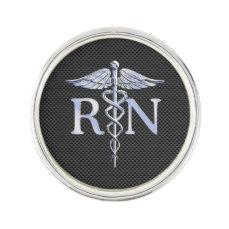 Registered Nurse RN Caduceus Snakes Carbon Pin