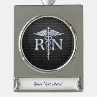 Registered Nurse RN Caduceus Snakes Carbon Silver Plated Banner Ornament