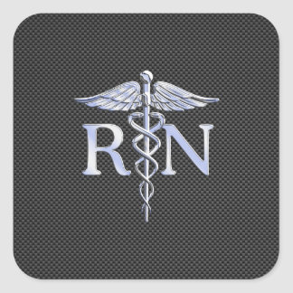 Registered Nurse RN Caduceus Snakes Carbon Square Sticker