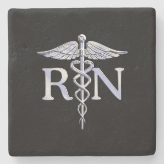 Registered Nurse RN Caduceus Snakes Stone Coaster