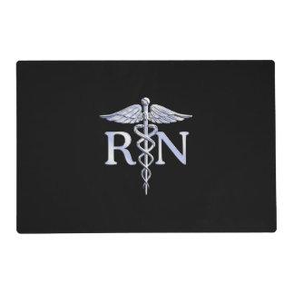 Registered Nurse RN Caduceus Snakes on Black Decor Placemat