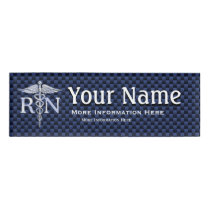 Registered Nurse RN Caduceus Snakes on blue carbon Name Tag