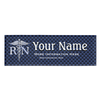 Registered Nurse RN Caduceus Snakes on blue carbon Name Tag