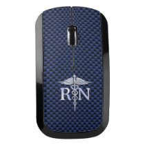Registered Nurse RN Caduceus Snakes on carbon Wireless Mouse