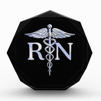 Registered Nurse RN Caduceus Snakes Solid Black Award