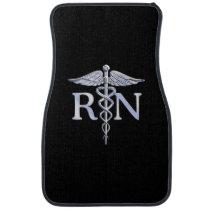 Registered Nurse RN Caduceus Snakes Solid Black Car Mat