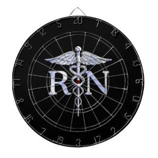 Registered Nurse RN Caduceus Snakes Solid Black Dart Board
