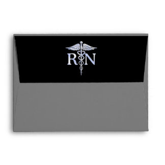 Registered Nurse RN Caduceus Snakes Solid Black Envelope