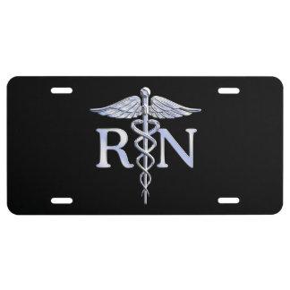 Registered Nurse RN Caduceus Snakes Solid Black License Plate